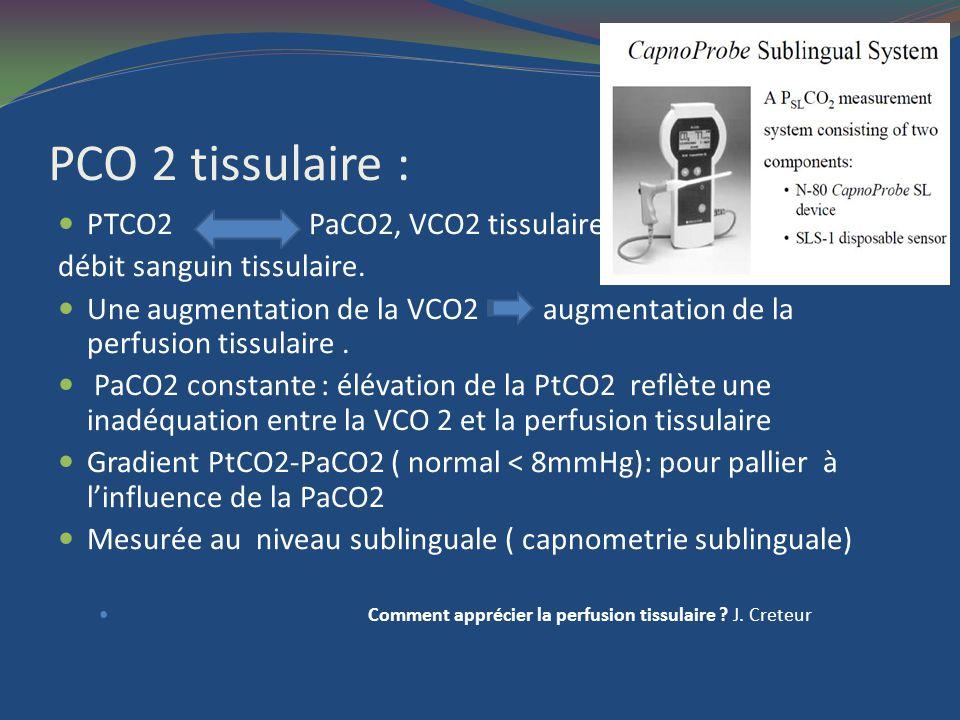 PCO 2 tissulaire : PTCO2 PaCO2, VCO2 tissulaire,