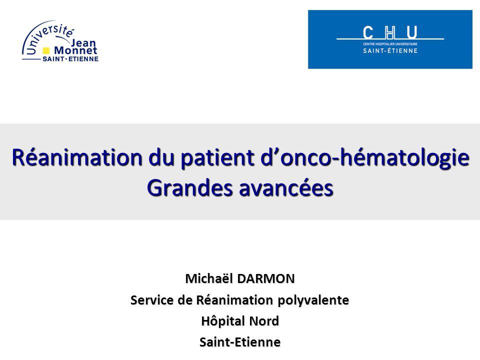 Réanimation du patient d'onco-hématologie Grandes avancées