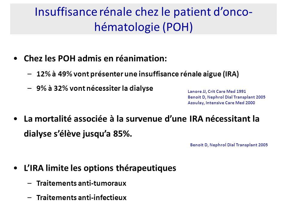 Insuffisance rénale chez le patient d'onco-hématologie (POH)