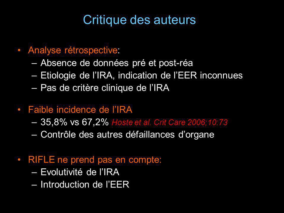 Critique des auteurs Analyse rétrospective: