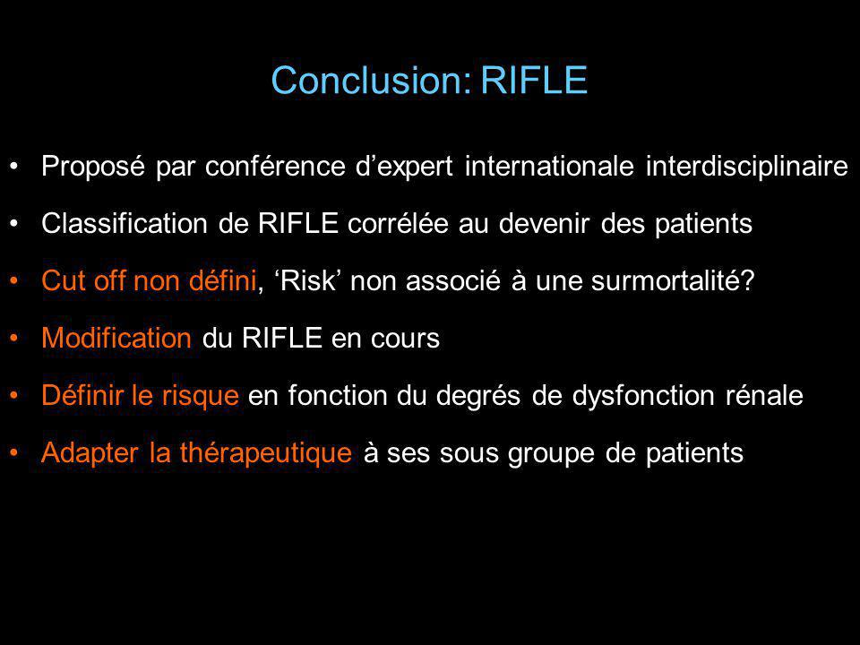 Conclusion: RIFLE Proposé par conférence d'expert internationale interdisciplinaire. Classification de RIFLE corrélée au devenir des patients.