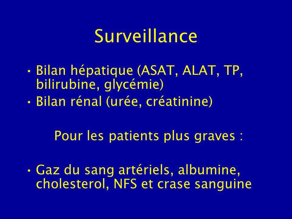 Surveillance Bilan hépatique (ASAT, ALAT, TP, bilirubine, glycémie)