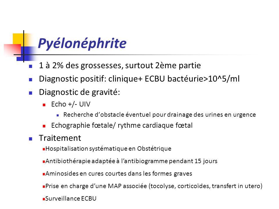 Pyélonéphrite 1 à 2% des grossesses, surtout 2ème partie