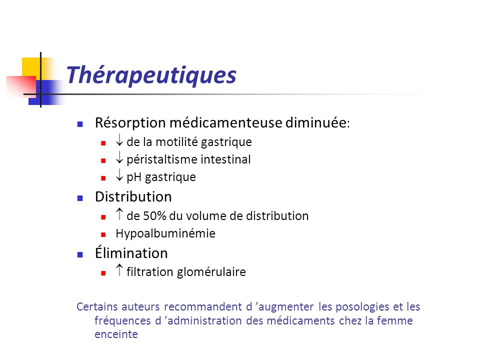 Thérapeutiques Résorption médicamenteuse diminuée: Distribution