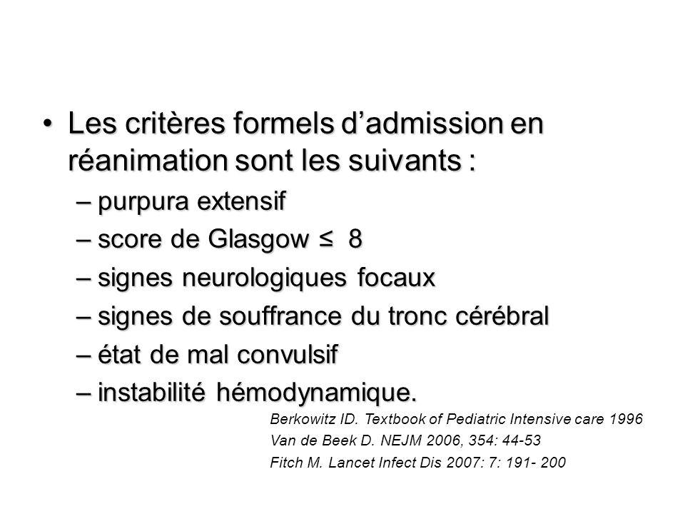 Les critères formels d'admission en réanimation sont les suivants :