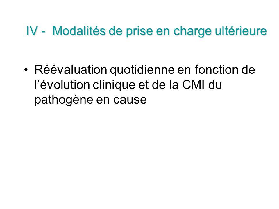 IV - Modalités de prise en charge ultérieure