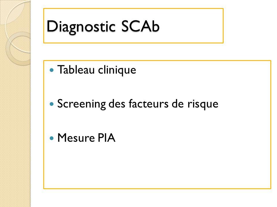 Diagnostic SCAb Tableau clinique Screening des facteurs de risque
