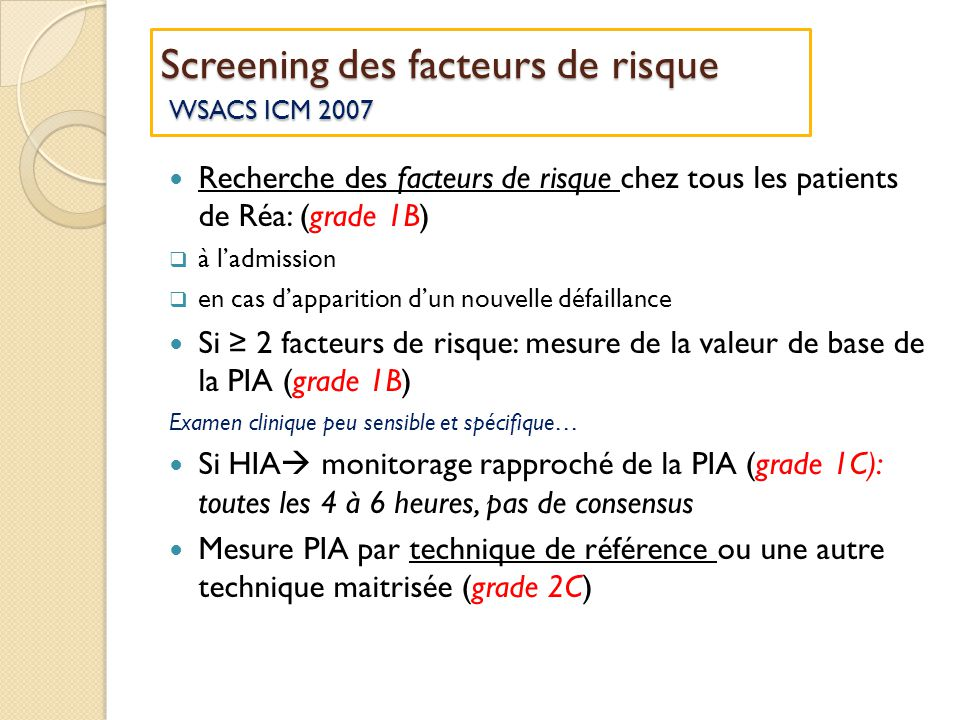Screening des facteurs de risque WSACS ICM 2007