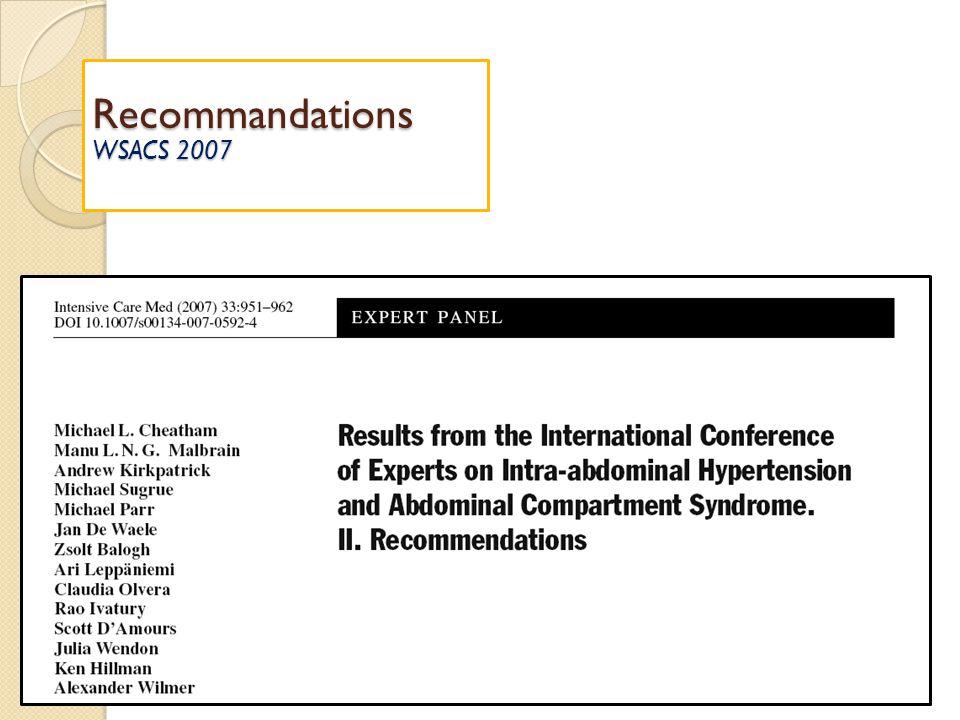 Recommandations WSACS 2007