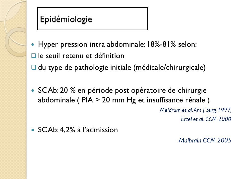 Epidémiologie Hyper pression intra abdominale: 18%-81% selon: