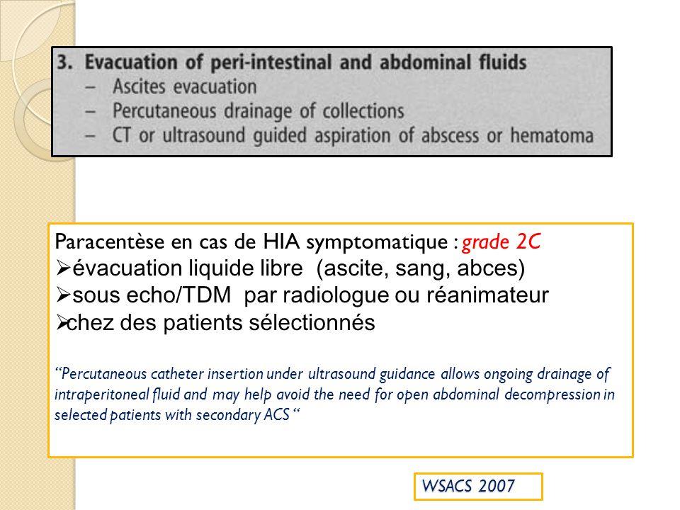 Paracentèse en cas de HIA symptomatique : grade 2C