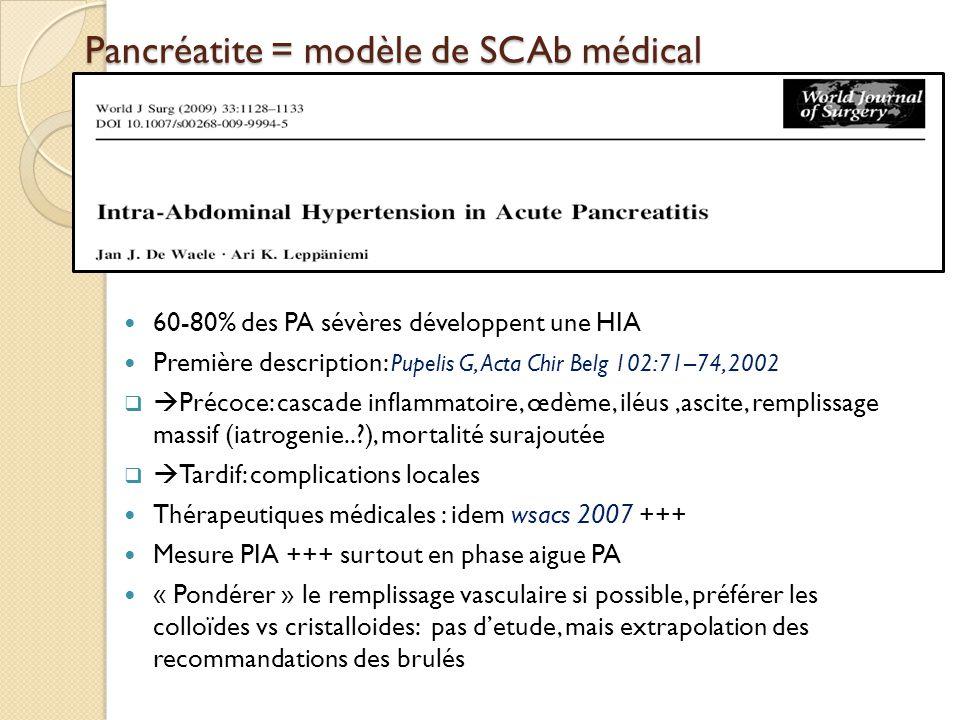 Pancréatite = modèle de SCAb médical
