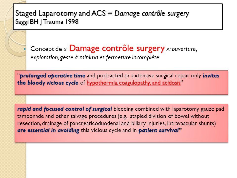 Staged Laparotomy and ACS = Damage contrôle surgery Saggi BH J Trauma 1998