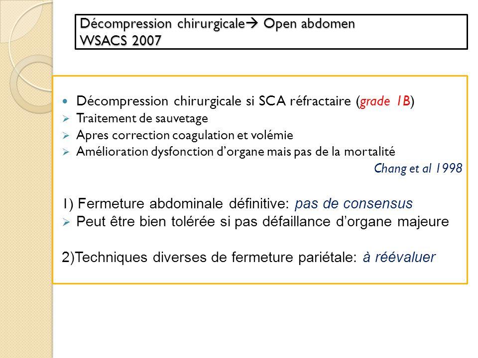Décompression chirurgicale Open abdomen WSACS 2007
