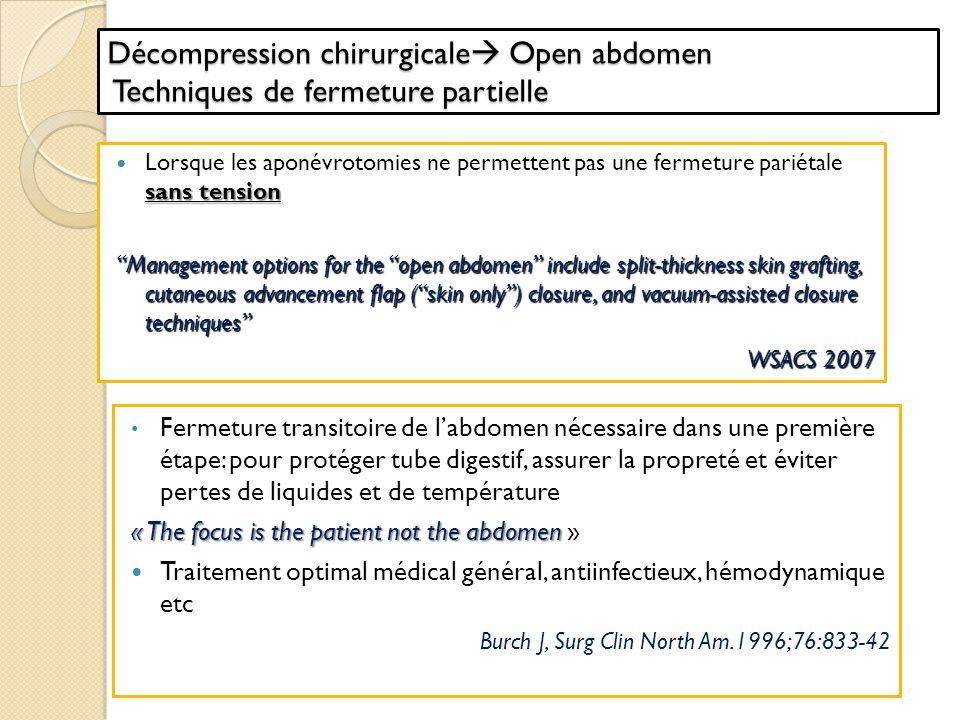 Décompression chirurgicale Open abdomen Techniques de fermeture partielle