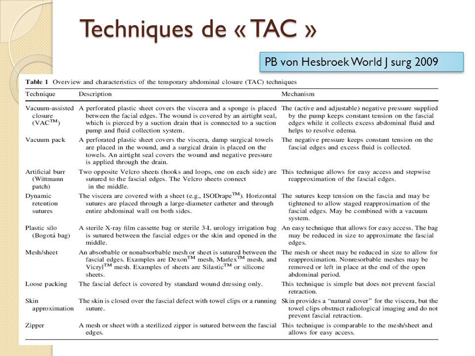 Techniques de « TAC » PB von Hesbroek World J surg 2009