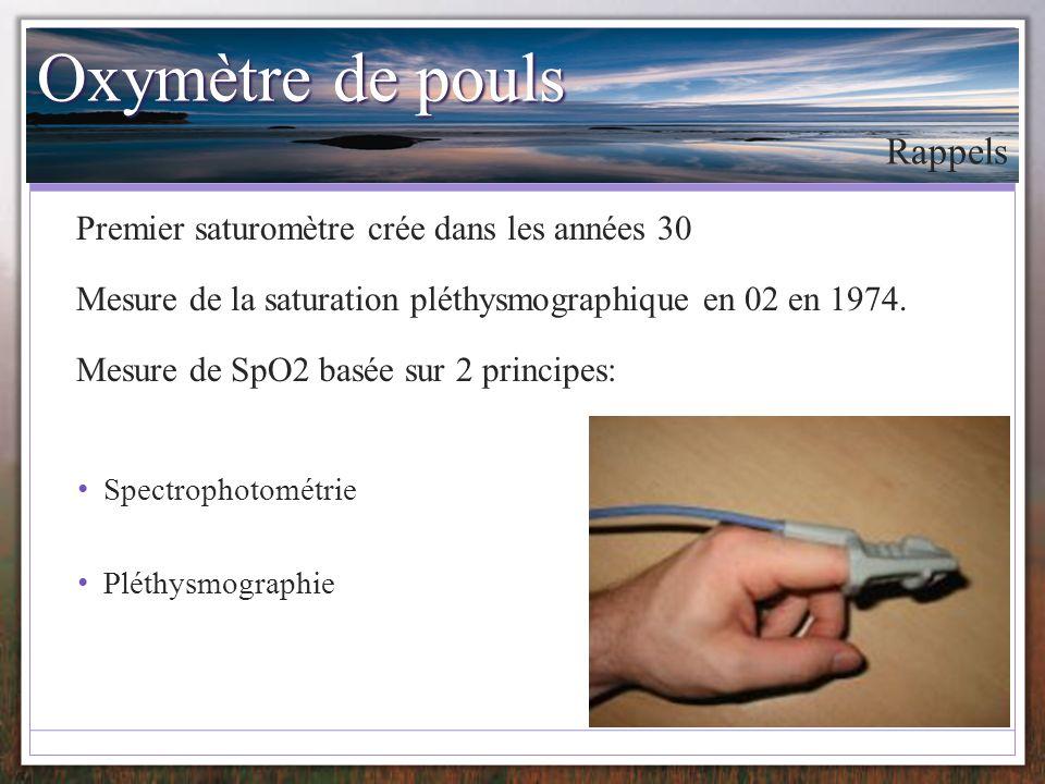 Oxymètre de pouls Rappels Premier saturomètre crée dans les années 30