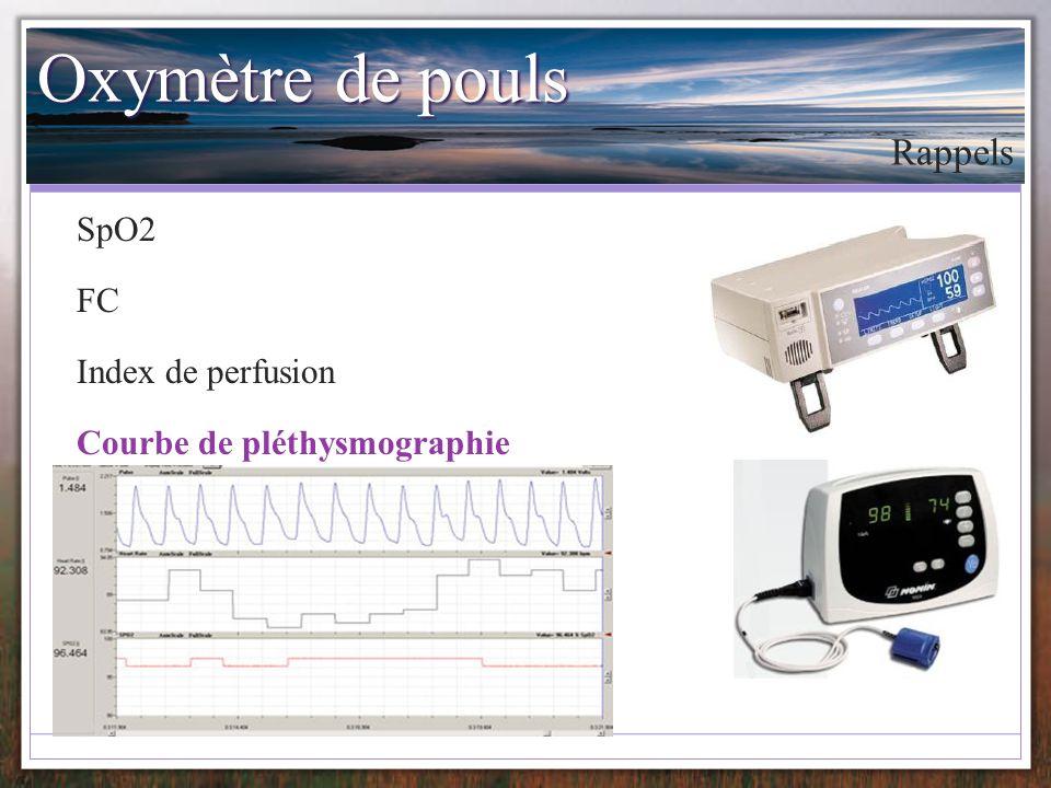 Oxymètre de pouls Rappels SpO2 FC Index de perfusion
