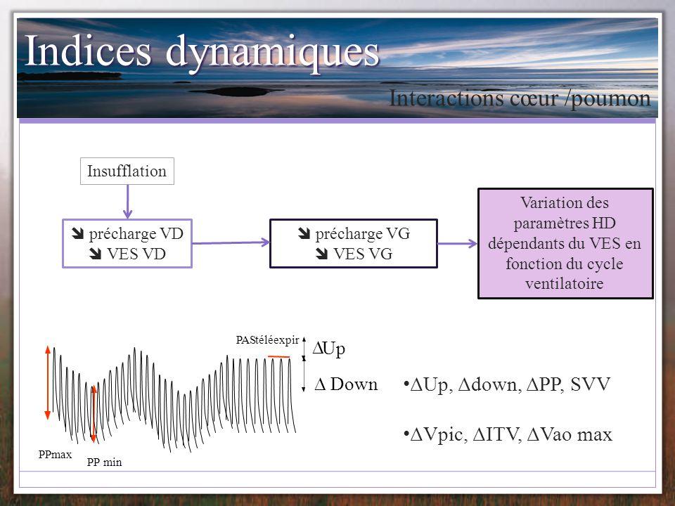 Indices dynamiques Interactions cœur /poumon ΔUp, Δdown, ΔPP, SVV