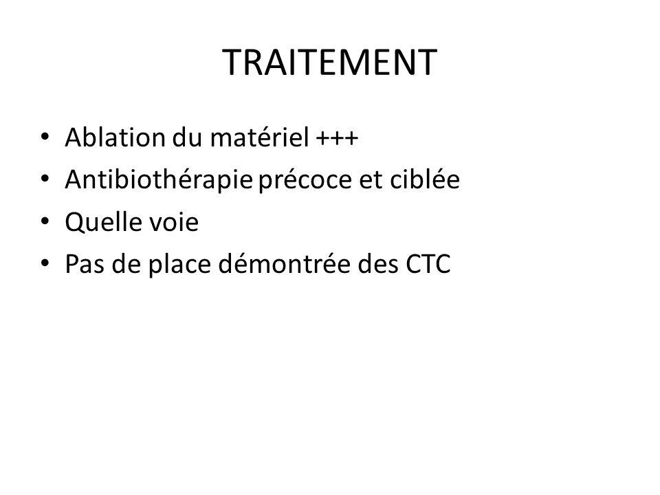 TRAITEMENT Ablation du matériel +++ Antibiothérapie précoce et ciblée