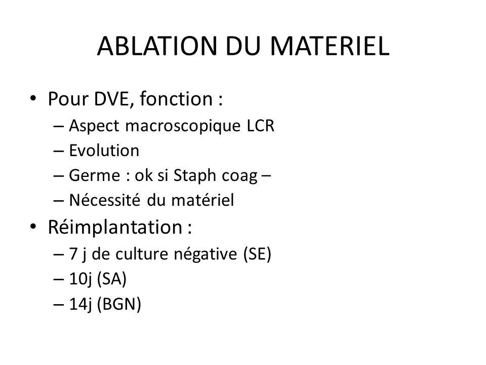 ABLATION DU MATERIEL Pour DVE, fonction : Réimplantation :
