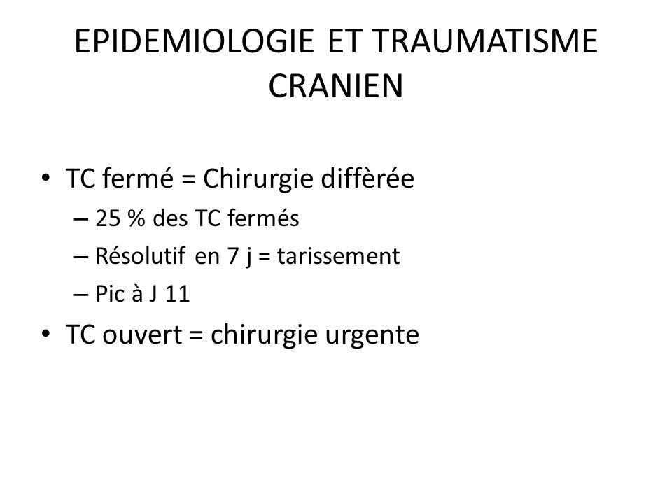 EPIDEMIOLOGIE ET TRAUMATISME CRANIEN