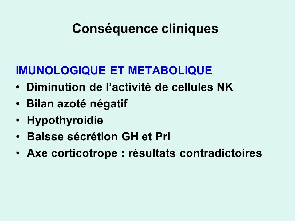 Conséquence cliniques