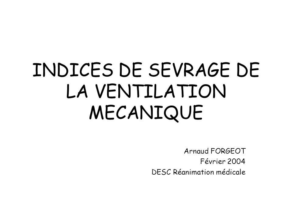 INDICES DE SEVRAGE DE LA VENTILATION MECANIQUE