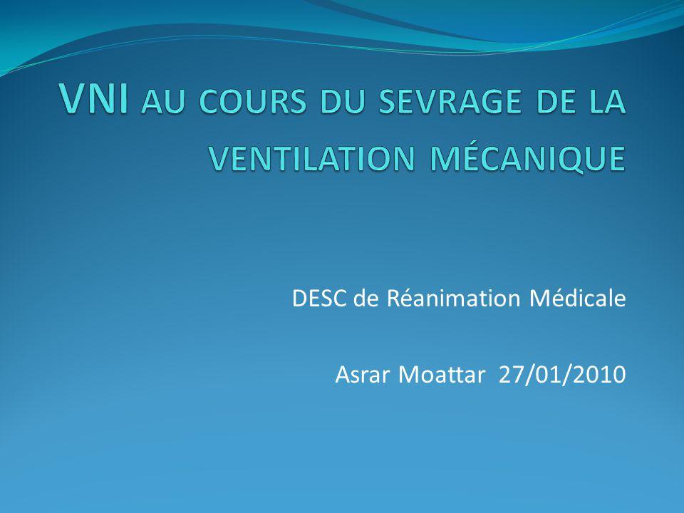 VNI au cours du sevrage de la ventilation mécanique
