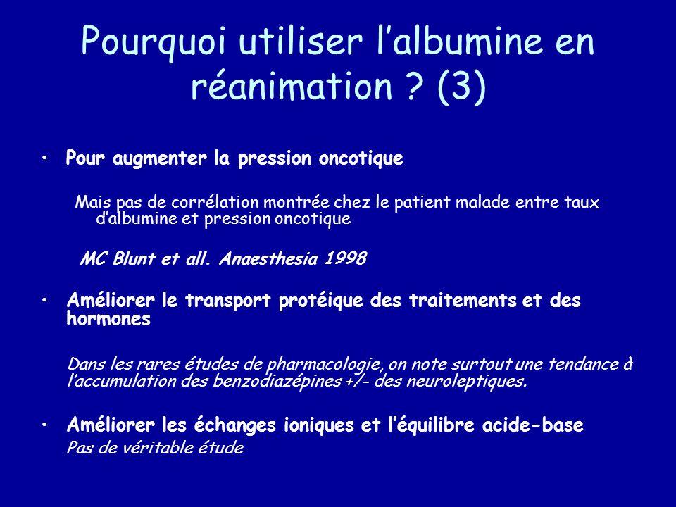 Pourquoi utiliser l'albumine en réanimation (3)