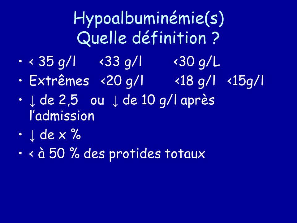 Hypoalbuminémie(s) Quelle définition