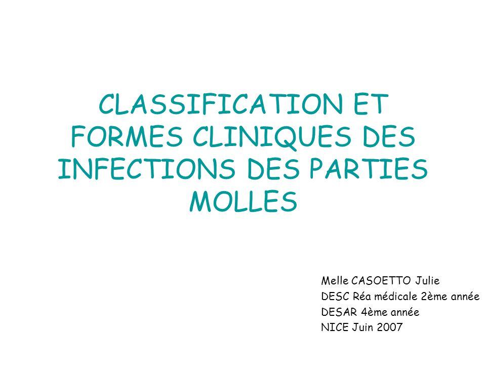 CLASSIFICATION ET FORMES CLINIQUES DES INFECTIONS DES PARTIES MOLLES