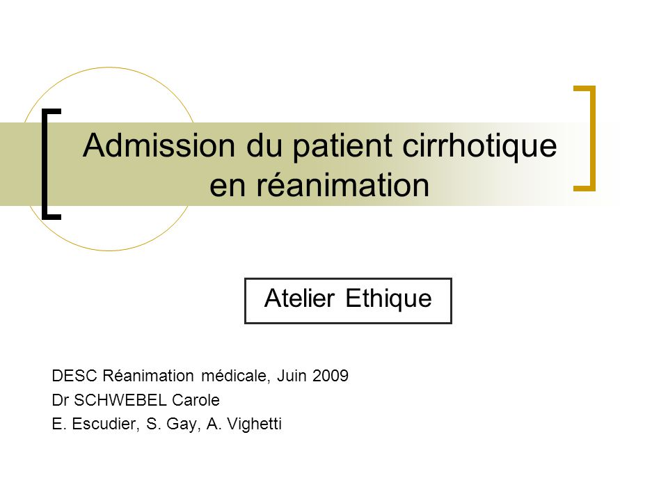 Admission du patient cirrhotique en réanimation