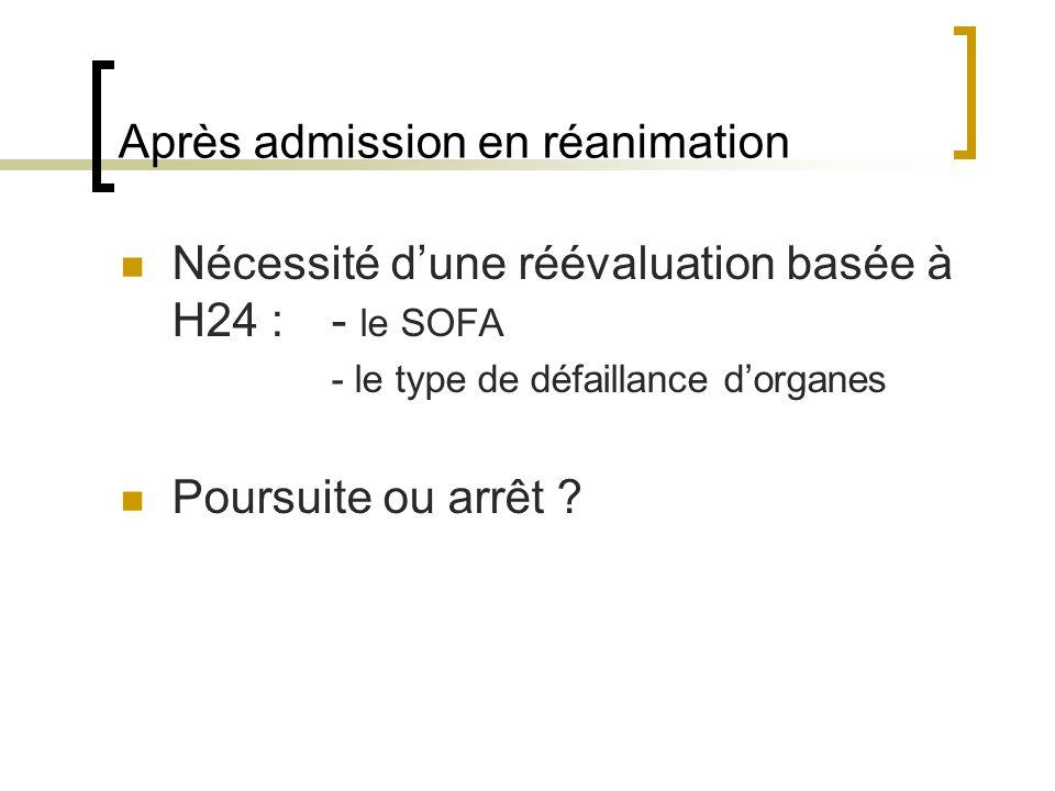 Après admission en réanimation