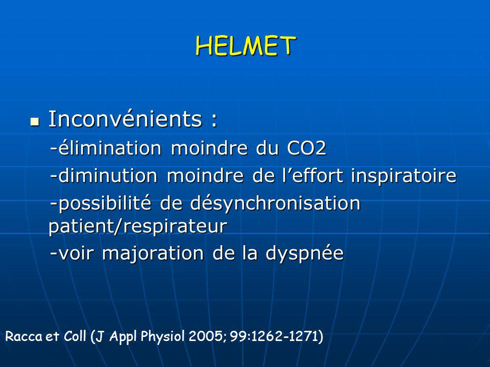 HELMET Inconvénients : -élimination moindre du CO2