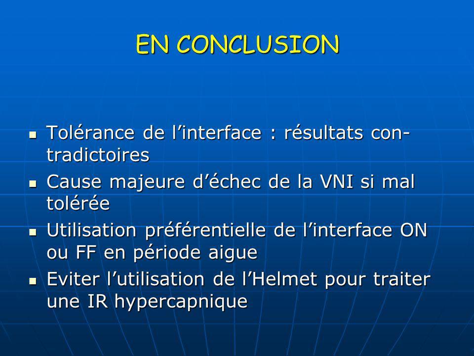EN CONCLUSION Tolérance de l'interface : résultats con- tradictoires