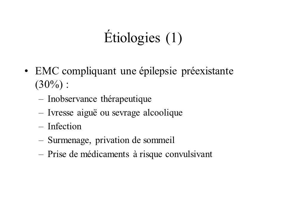 Étiologies (1) EMC compliquant une épilepsie préexistante (30%) :