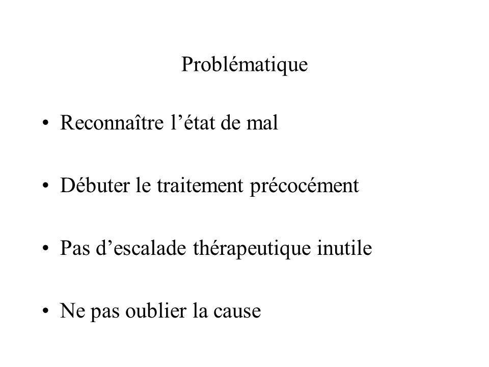 Problématique Reconnaître l'état de mal. Débuter le traitement précocément. Pas d'escalade thérapeutique inutile.