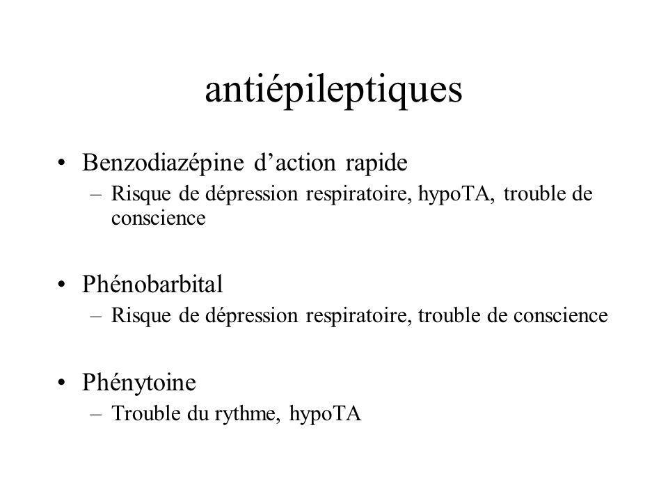 antiépileptiques Benzodiazépine d'action rapide Phénobarbital