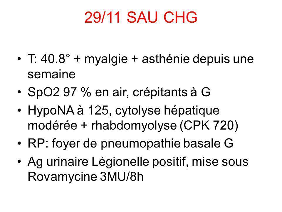 29/11 SAU CHG T: 40.8° + myalgie + asthénie depuis une semaine