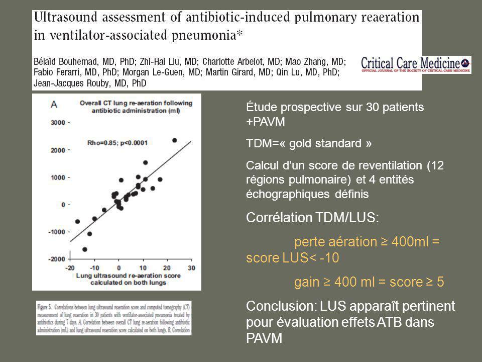 Corrélation TDM/LUS: gain ≥ 400 ml = score ≥ 5