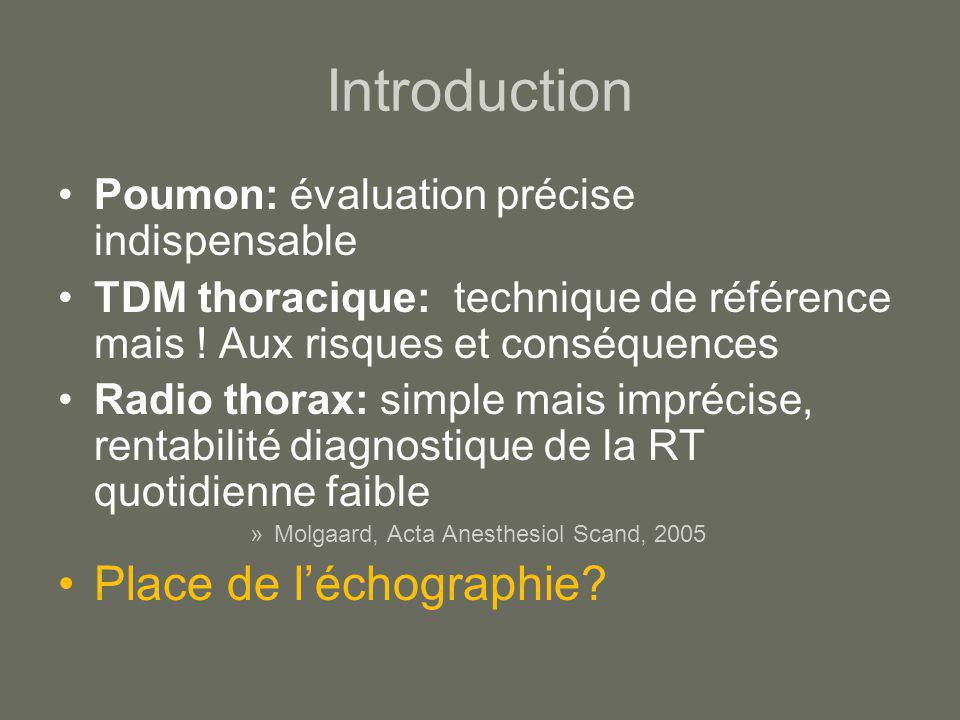 Introduction Place de l'échographie