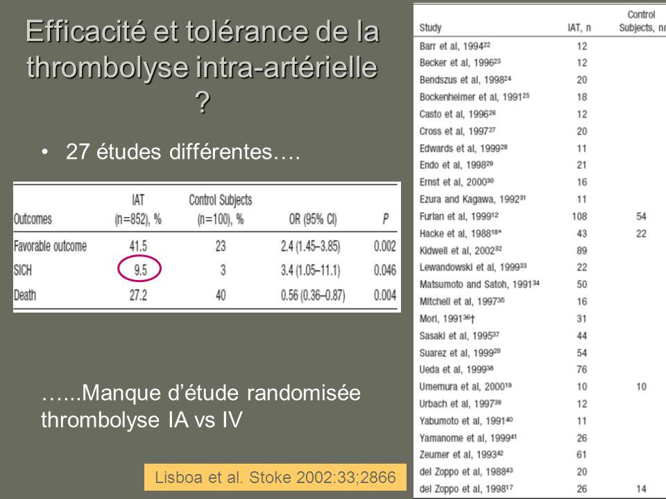 Efficacité et tolérance de la thrombolyse intra-artérielle