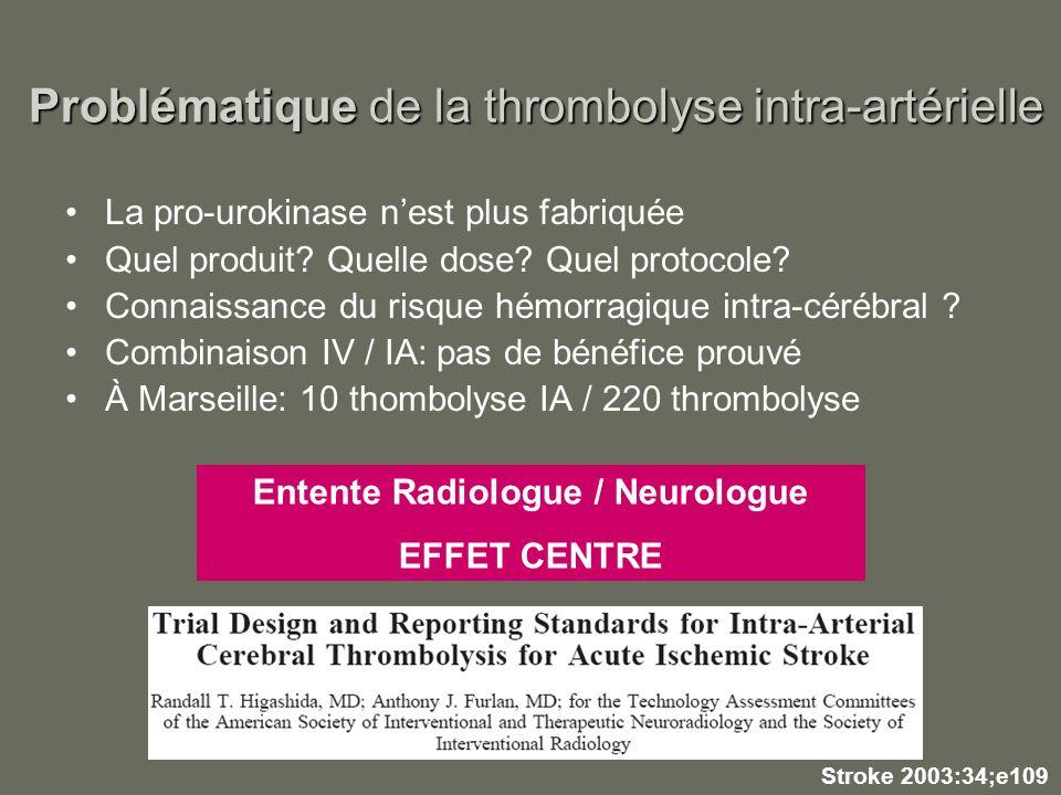Problématique de la thrombolyse intra-artérielle