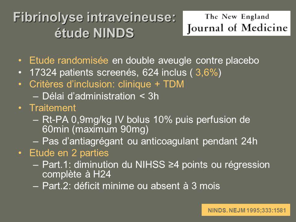 Fibrinolyse intraveineuse: étude NINDS