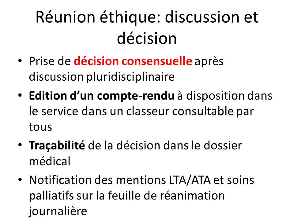 Réunion éthique: discussion et décision