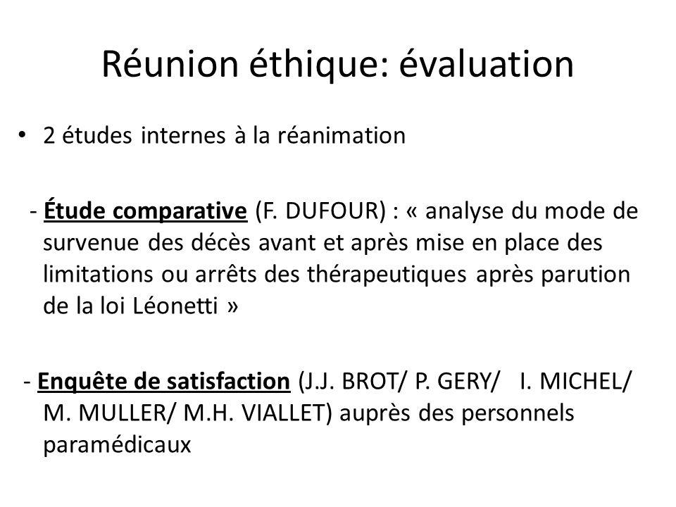 Réunion éthique: évaluation