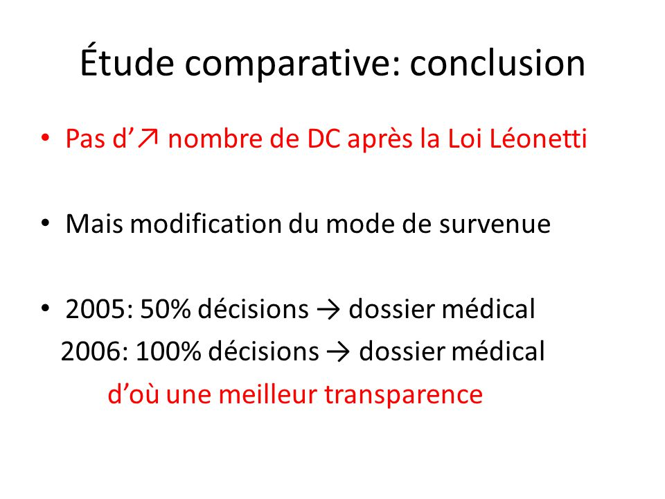 Étude comparative: conclusion
