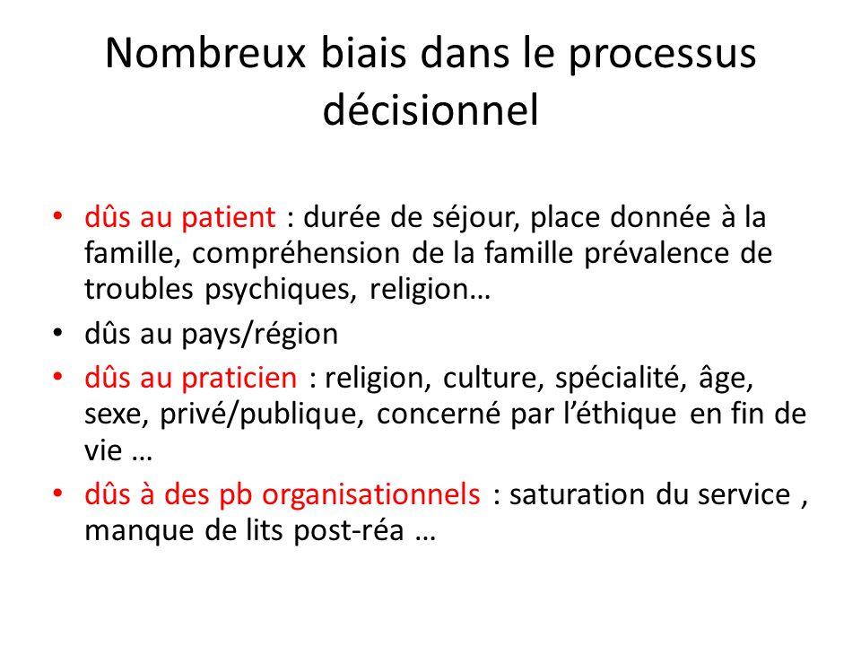 Nombreux biais dans le processus décisionnel