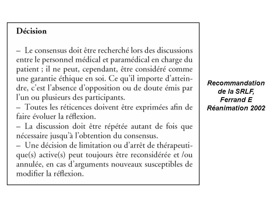 Recommandation de la SRLF,